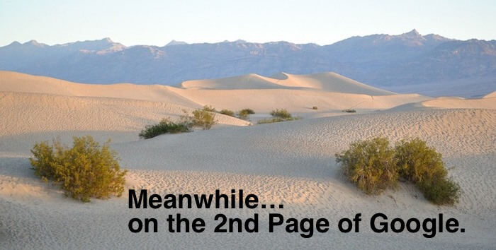 Sand dunes in desert meant to look like what it's like to rank on page 2 of Google