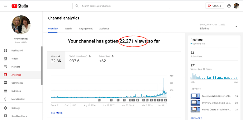YouTube Analytics showing Lifetime views