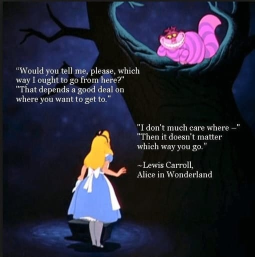 Alice in Wonderland wondering which road to take