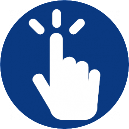 finger pointing onto blue circle