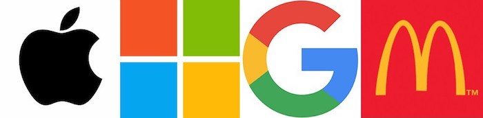 logos of the Apple, Microsoft, Google, and McDonalds
