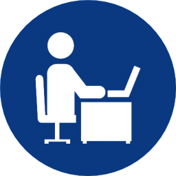 computer user sitting on a chair in blue circle