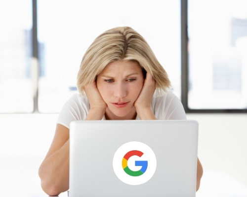 woman frustrated with not being on google